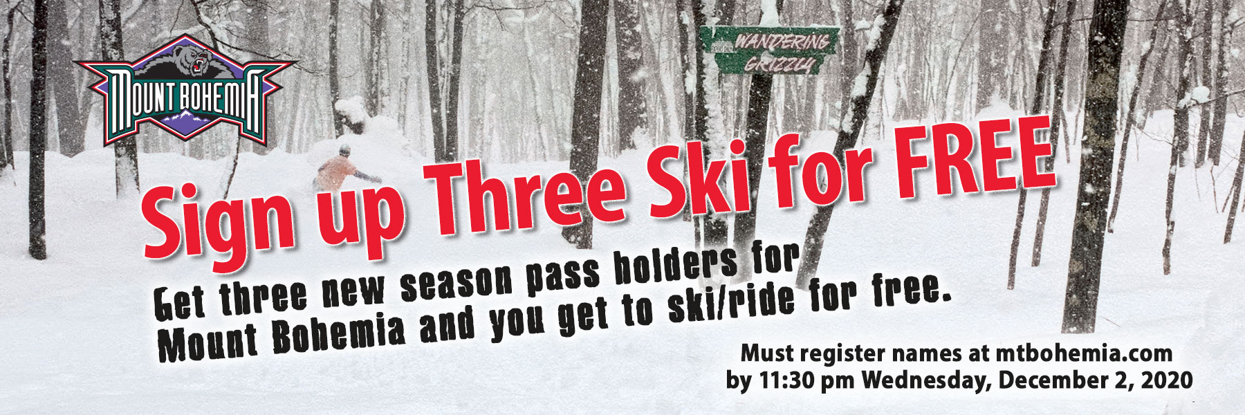 2020 Sign up Three Ski Free