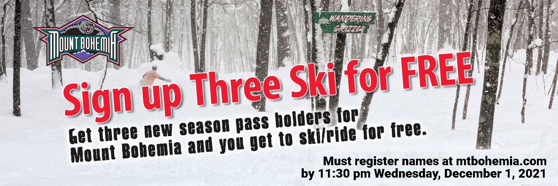 2021 Sign up Three Ski Free